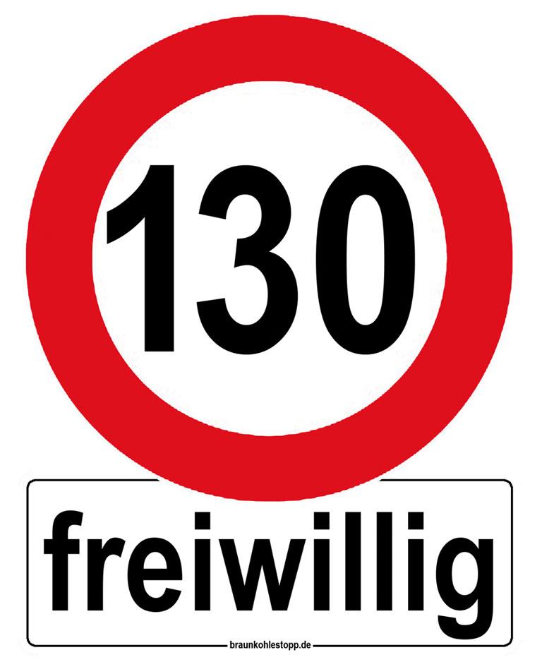 Aufkleber Tempo 130 km/h freiwillig